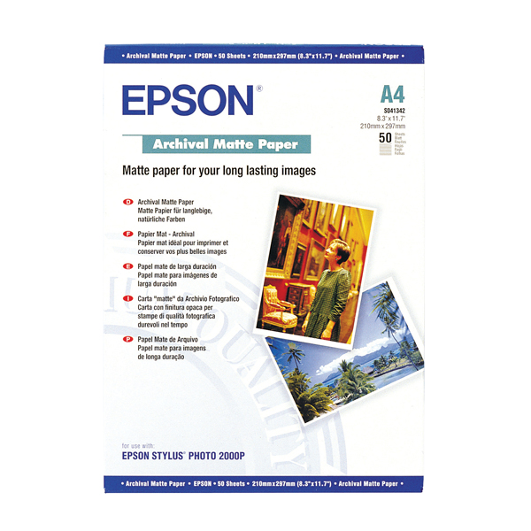 Epson A4 Archival Matte Paper (Pack of 50) C13S041342