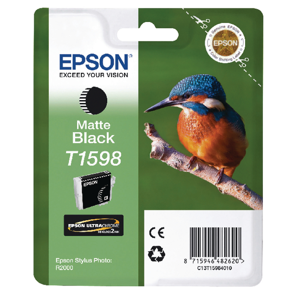 Epson T1598 Matte Black Inkjet Cartridge C13T15984010 / T1598