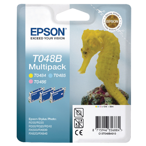 Epson T048B Light Cyan/Light Magenta/Yellow Inkjet Cartridge (Pack of 3) C13T048B4010 / T048B