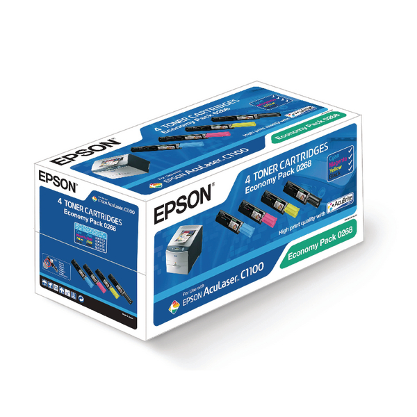 Epson Cyan/Magenta/Yellow/Black AL-C1100 Toner Cartridge Economy (Pack of 4) C13S050268