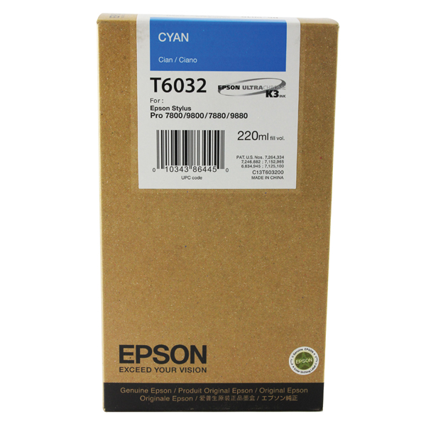 Epson T6032 High Yield Cyan Inkjet Cartridge C13T603200 / T6032