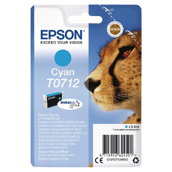Epson T0712 Cyan Inkjet Cartridge C13T07124012
