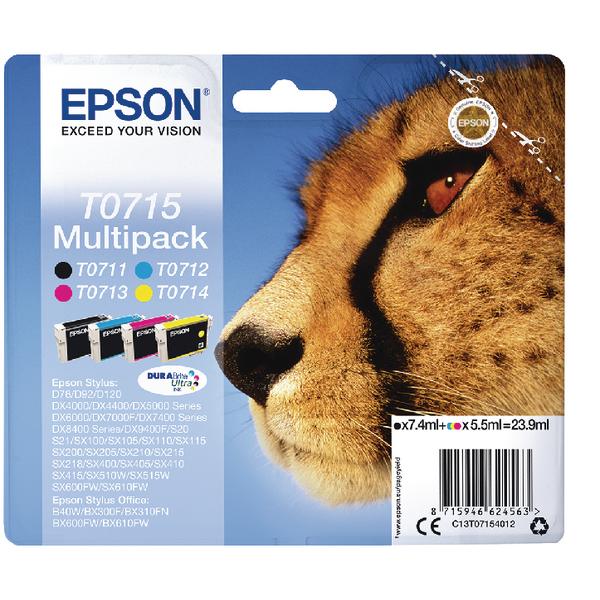 Epson T0715 Black Cyan Magenta Yellow Inkjet Cartridge Value (Pack of 4) C13T07154012