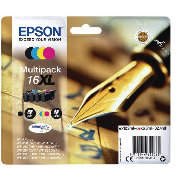 Epson 16XL Black/Cyan/Magenta/Yellow Ink Cartridges (Pack of 4) C13T16364012