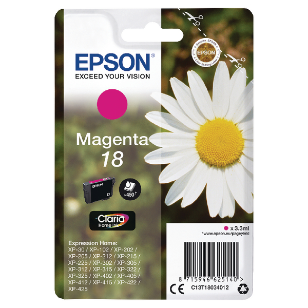 Epson 18 Magenta Inkjet Cartridge C13T18034012