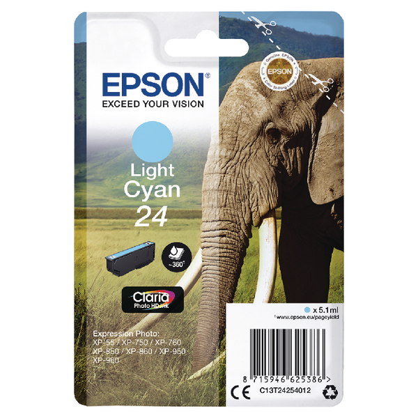 Epson 24 Light Cyan Inkjet Cartridge C13T24254012