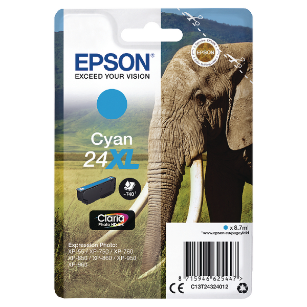 Epson 24XL Cyan Inkjet Cartridge C13T24324012