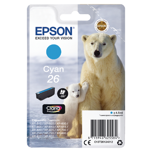 Epson 26 Cyan Inkjet Cartridge C13T26124012