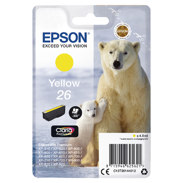 Epson 26 Yellow Inkjet Cartridge C13T26144012