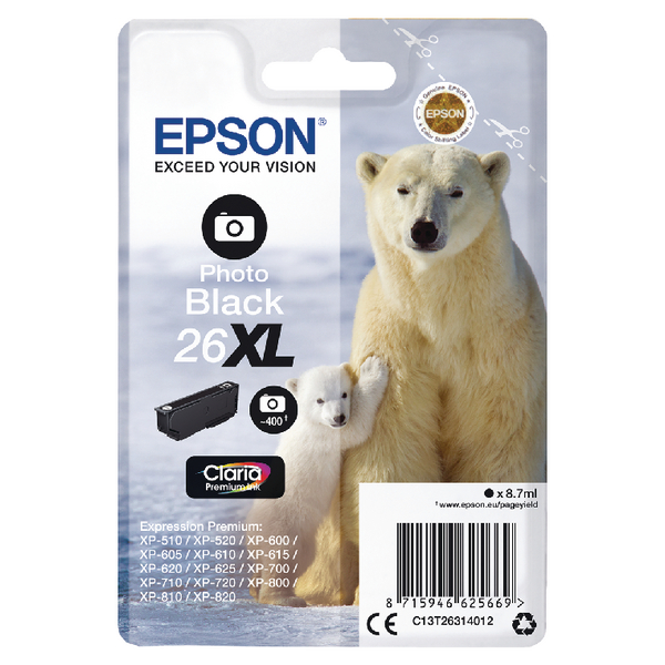 Epson 26XL Photo Black Inkjet Cartridge C13T26314012