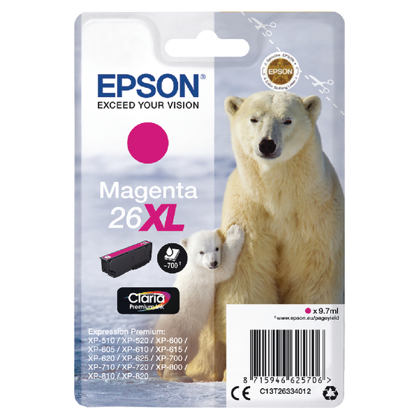 Epson 26XL Magenta Inkjet Cartridge C13T26334012