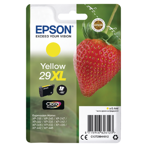 Epson 29XL Yellow Inkjet Cartridge C13T29944012