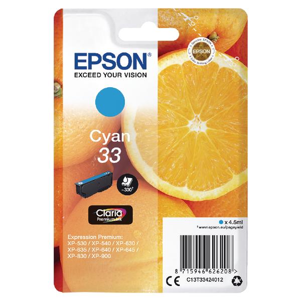 Epson 33 Cyan Inkjet Cartridge C13T33424012