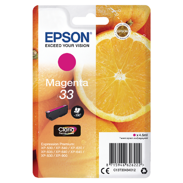 Epson 33 Magenta Inkjet Cartridge C13T33434012