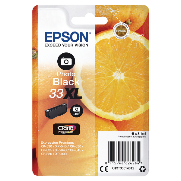 Epson 33XL Photo Black Inkjet Cartridge C13T33614012