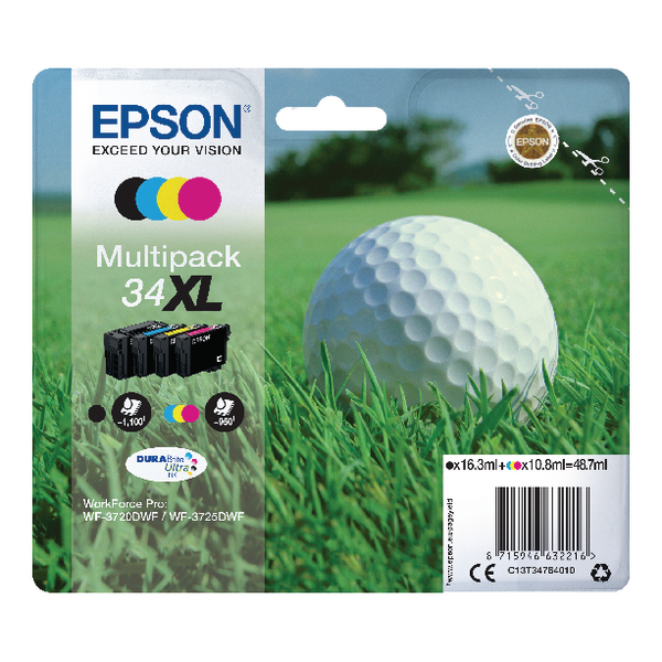 Epson Singlepack 4 Colour 34XL DURABrite Ultra Ink C13T34764010