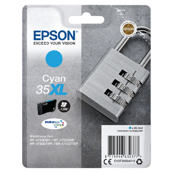 Epson Singlepack Cyan 35XL DURABrite Ultra Ink C13T35924010