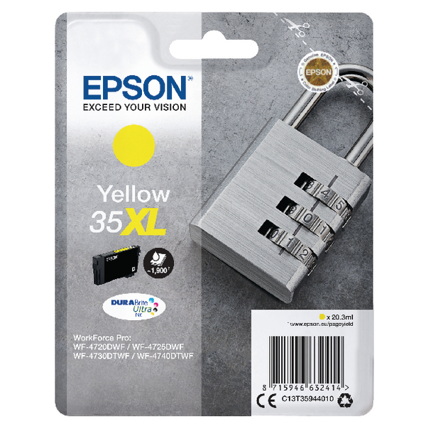 Epson Singlepack Yellow 35XL DURABrite Ultra Ink C13T35944010