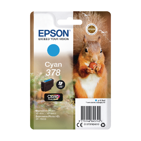Epson 378 Cyan HD Inkjet Cartridge C13T37824010