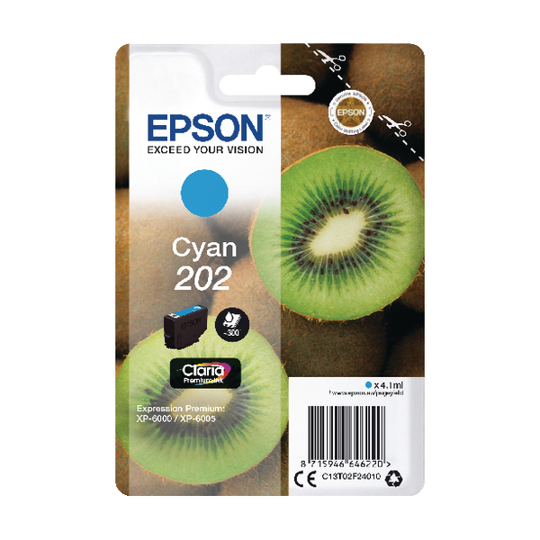 Epson 202 Cyan Inkjet Cartridge C13T02F24010