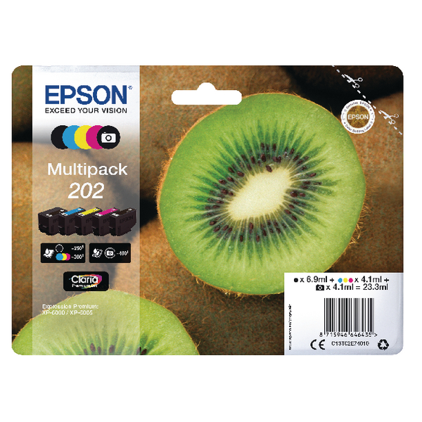 Epson 202 Inkjet Cartridge (Pack of 5) C13T02E74010