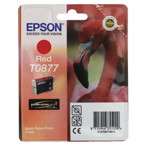 Epson T0877 Red Inkjet Cartridge C13T08774010 / T0877