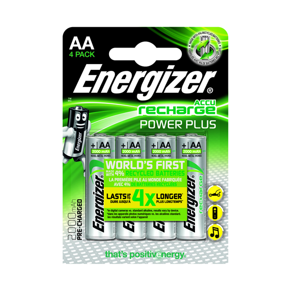 Energizer Rechargable AA Batteries 2000 Mah (Pack of 4) 632976