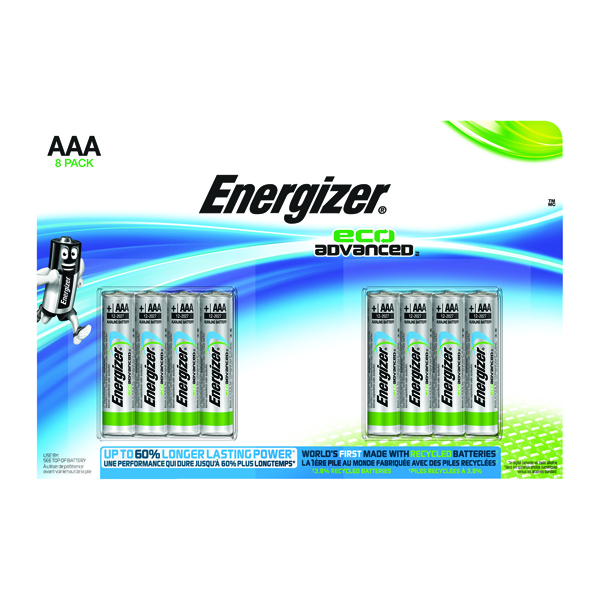 Energizer EcoAdvanced Alkaline AAA Batteries E92 (Pack of 8) E300116300