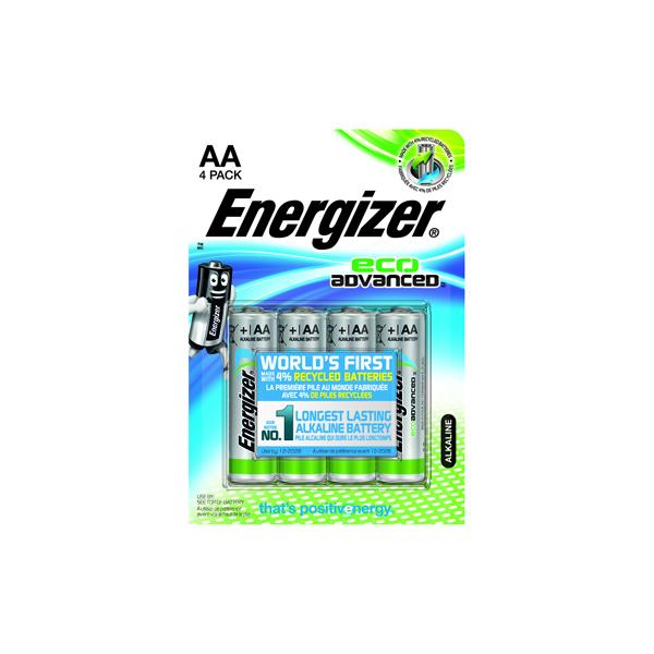 Energizer EcoAdvanced Alkaline AA Batteries E91 (Pack of 4) E300130700