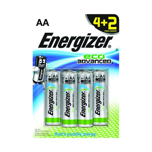 Energizer EcoAdvanced Alkaline AA Batteries E91 (Pack of 4) + 2 Free) E300135600