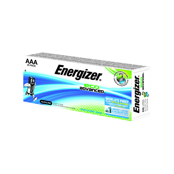 Energizer EcoAdvanced Alkaline AAA Batteries E92 (Pack of 20) E300488000