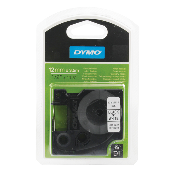 Dymo Black on White D1 Flexible Nylon Tape 12mmx3.5m S0718040
