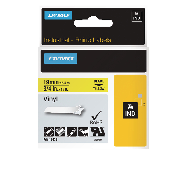 Image for Dymo Rhino Coloured Vinyl Labels Black on Yellow 19mmx5.5m 18433
