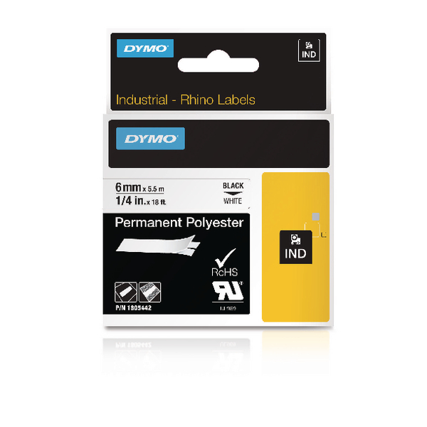Dymo Rhino Permanent Polyester Tape 9mmx5.5m Black on White 18482