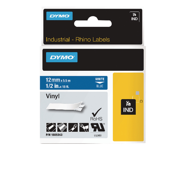 Dymo Black on White Rhino Vinyl Tape 12mmx5.5m 18444