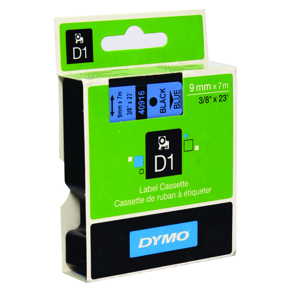 Dymo 40916 D1 LabelMaker Tape 9mm x 7m Black on Blue S0720710