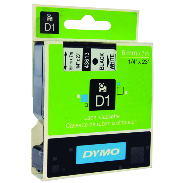 Dymo Black on White 1000/5000 D1 Standard Tape 6mmx7m S0720780