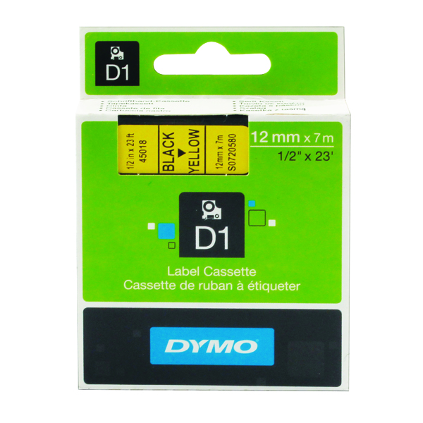 Dymo Black on Yellow 4500 D1 Standard Tape 12mmx7m S0720580