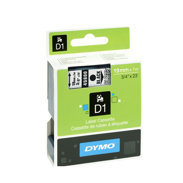 Dymo 45800 D1 LabelMaker Tape 19mm x 7m Black on Clear S0720820