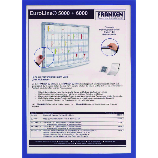 Franken Magnetic Document Holder A4 Blue (Pack of 5) ITSA4M/5 03