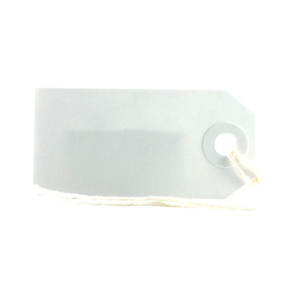 Strung Tags 1CKL 70 x 35mm White Single (Pack of 75) 8010