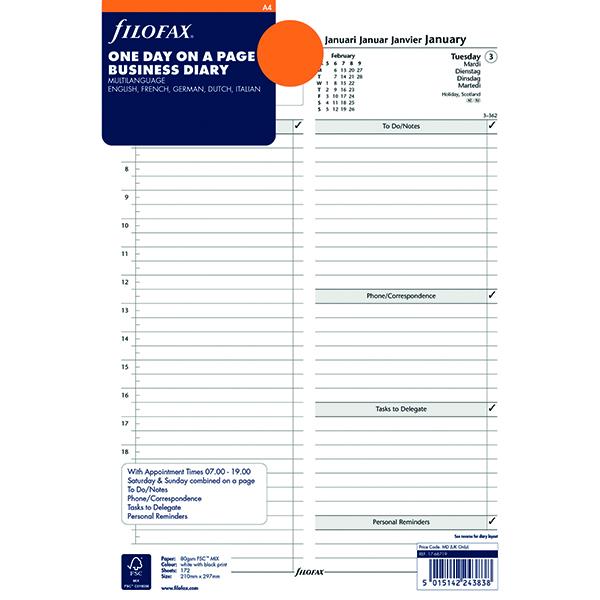 Filofax A4 Day Per Page Refill 2019 19-68719
