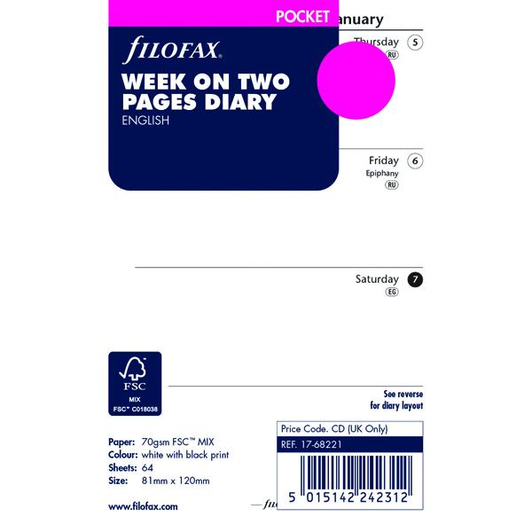 Filofax Pocket Week To View Diary Refill 2019 19-68221