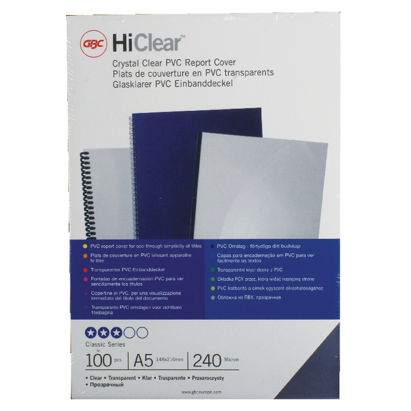 GBC HiClear PVC Binding Covers 240 Micron A5 Clear (Pack of 100) 4400025