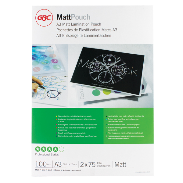 GBC A3 Matt Laminating Pouch 150 Micron (Pack of 100) 41660E