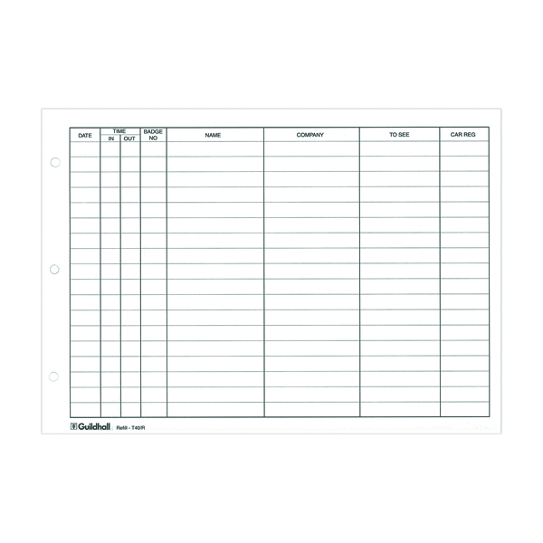 Guildhall Loose-leaf Visitors Book Refill (Pack of 50) T40/R
