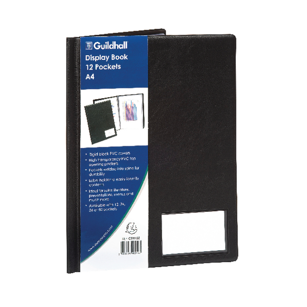 Guildhall A4 Display Book 12 Pocket Black CDB12Z