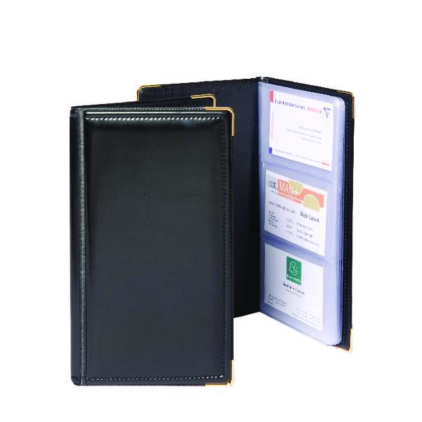 Image for Goldline Black Deluxe Stitched Business Card Holder 96 Card Capacity SBC3P/BLK
