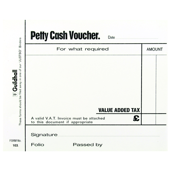 Guildhall Petty Cash Pad 100 Leaves White 103