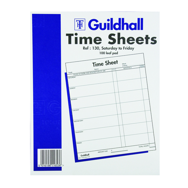 Guildhall Time Sheet 254 x 203mm Saturday - Friday Pack of 100 1653